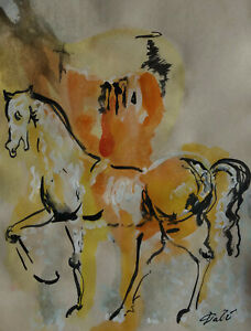 Fine, Unique Surreal gouache painting - Horseman, signed, Salvador Dali
