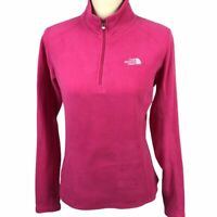 The North Face Women's 1/4 Zip Fleece Pullover Small Pink Magenta White Jacket