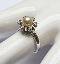 Damen Ring 18 Karat 750 Gold 4,73 g Weißgold Perle 6 Brillanten Brillant Gr. 56
