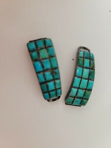Vintage Zuni Native Sterling Silver Turquoise Watch Tips