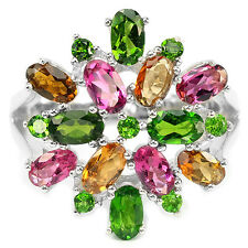 NATURAL AAA CHROME DIOPSIDE & MULTI COLOR TOURMALINE .925 STERLING SILVER RING 8