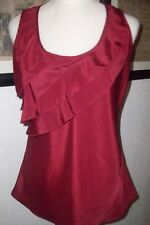 2 pc lot blouse maurices red ruffle m grey cami med tall preowned guc