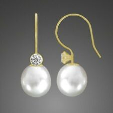 585 Gelbgold Ohrhänger Ohrringe Ohrhaken weiß Süßwasser Perlen Zirkonia Damen 10