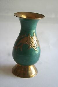 Beautiful Vintage Brass Vase Enbossed Dolphins & Hawaii Name Blue Paint Artistic