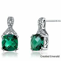 2 Ct Emerald Round Stud Earrings 18K White Gold Plated & Gift Box