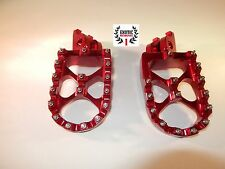 Honda CR 125 CR 250  Foot pegs Footrests  WIDE FAT Anodized Red
