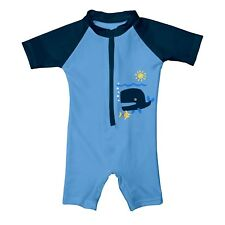 Nwt iPlay Small 3-6 Month One Piece Zipper SunSuit Blue Swimwear Swimsuit New!