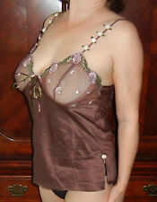 INCREDIBLY SEXY!!!TIFFANY'S CLOSET BROWN SLIPPERY CAMISOLE SHEER CUPS M  EUC