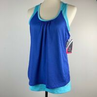 Women's Marika Tek NWT Racerback Athletic Stripe Tank Double Layer Size Large