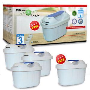 FilterLogic FL402E Universal 3 + 1 Pack of Water Filters fits Brita Maxtra+ Plus