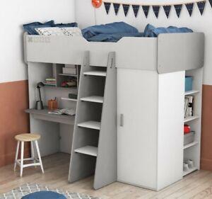 Hochbett Hampton Bett 90x200 incl. Schrank Regal Schreibtisch in Weiss Grau