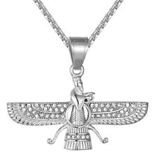Stainless Steel Pendant Free Box Chain Mens Egyptian God Wings Religious Charm