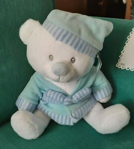 Cuddles Collection White Teddy Bear Blue Dressing Gown & Night Cap Christmas