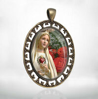 Our Lady of Fatima - Christian Catholic Medal Virgin Mary Pendant Oval Bronze