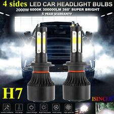 Pair 4-sides H7 LED Headlight Kit 2000W 300000LM Hi/lo Beam Bulbs 6000K White PC