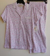 Eileen West Pink Multi Floral 100% Cotton Knit Capri Pajamas Pajama Set S NWT