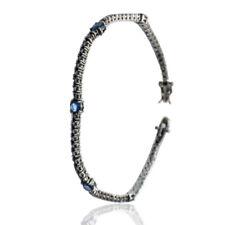 Bracciale tennis mm 2,5 in argento 925 placcato rutenio con zirconi neri e blu