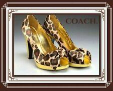 Coach Peep Toe Leopard Print Satin Daisey Heels 7.5
