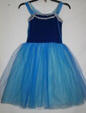 Halloween Costume BALLET Dress Star Styled Dance Leotard CHILD LARGE Blue Sequin
