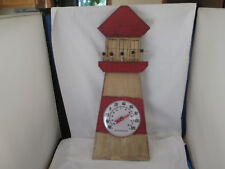 """Large 20 1/4"""" Wood Lighthouse Wall Thermometer Red Easy to Read Round Dial"""