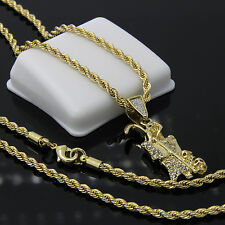 """Gold Plated Iced Grim Reaper Death Hip-Hop Pendant 24"""" Rope Chain Necklace D513"""