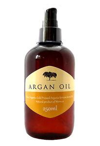 100% Pure Cold Pressed Organic Moroccan Argan Oil Skin Body Hair Nails, 250ml