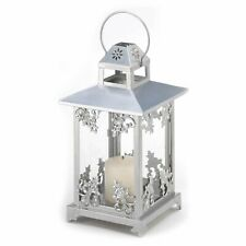 2 Graceful Silvery Finish Scrollwork Intricate Iron Candle Lantern Centerpiece