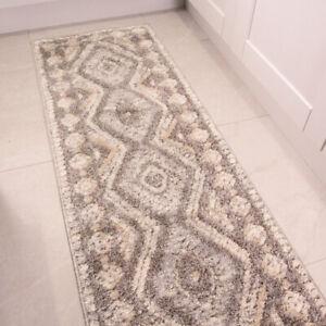 Grey Runner Rugs for Hallway Rug | 60cm x 240cm | Cheap Geometric Rugs for Hall