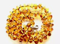 "Vintage Hand Knotted Sterling Silver Honey Amber Graduating Bead 19"" Necklace"