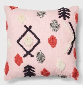 "*NEW* Opalhouse Pink Tufted Decorative Throw Pillow Square 18"" x 18"" w/ Red Navy"