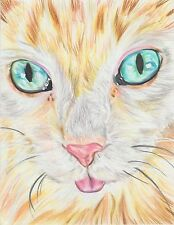 Custom Pet Cat Dog Fish Animal Drawing Prismacolor Pencil Art Original New Color