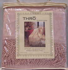 THRŌ JACQUARD ROSE PINK THROW with LARGE BULLION TRIM NEW IN PACKAGE