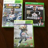 XBox 360 Sports Football Nascar Game Lot Madden 15 and 18 | Inside Line