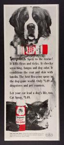 1966 Saint Bernard photo Sergeant's Flea & Tick Spray vintage print Ad