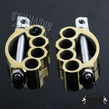 1 Pair Brass Aluminum Foot Pegs Footpegs Footrest Universal For Harley Davidson