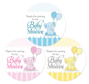 Baby Shower Thank You Stickers, Boys, Girls, Unisex, Blue, Pink, Yellow Elephant