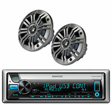 """Kenwood Boat Cd Aux Receiver, 6.5"""" 195W Charcoal Speakers Interchangeable Grills"""