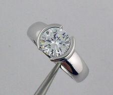Engagement Ring 14K White Gold 1.5Ct Half Bezel Cz Solitaire