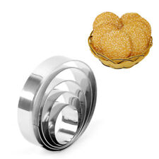 5Pcs Stianless Steel Cookies Cutter Round Biscuit Cake Baking Mould KicthenTool