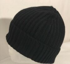 NWOT Andrew Stewart Men's Ribbed Knit Wool & 20 pct Cashmere Cuffed Beanie Black