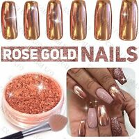 New ROSE GOLD NAILS POWDER Mirror Chrome Effect Pigment Nail Art UK SELLER (u)