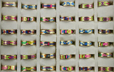 30pcs Wholesale Lots Fashion Mixed Colorful Enamel Stainless Steel Lady's Rings