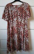 Vestido De Verano papaya Rojo Y Blanco Estampado de Leopardo Floaty Midi Smock Estilo Tamaño 18