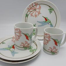 Fitz Floyd Variations Hummingbird Salad Dessert Plates Coffee Mugs lot 5 1981