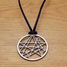 Necronomicon Sigil Lovecraft Symbol Stainless Steel Pendant &Black Cord Necklace