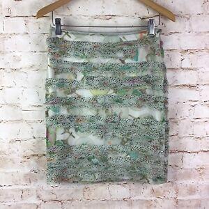 Marc Cain Silk Floral Layered Raw Hem Skirt Size N1 US 4