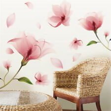 Flower Wall Sticker Removable Pink Vinyl Mural Decals Home Art Living Room Decor