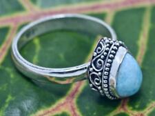 Handmade Sterling Silver .925 Bali Teardrop Larimar Gem Solitaire Ring Size 7.