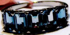 LONDON BLUE TOPAZ OCTAGON & WHITE TOPAZ BAND RING, 925 SILVER, SIZE 9, 3.53(TCW)
