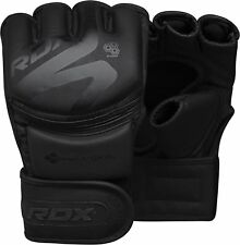 RDX Leather MMA Gloves Training Boxing Grappling Fighting Punch Bag Black